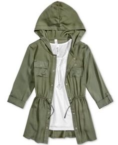 Beautees 3-Pc. Hooded Jacket, Tank Top & Necklace Set, Big Girls (7-16) - Green XL