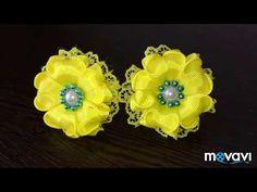 Цветы и бантики канзаши из лент, МК /DIY satin ribbon flower, kanzashi - YouTube