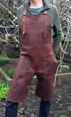 Split Leg Apron in Brown Leather with Removable by CyclonaDesigns