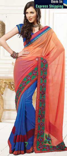 Orange And Blue Color Faux Georgette Bridal Saree Save: off Buy Designer Sarees Online, Latest Designer Sarees, Light Orange, Orange Color, Party Wear Sarees Online, Saree Shopping, Georgette Sarees, Chiffon, Divergent