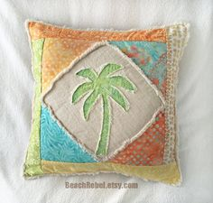 "Palm tree boho pillow cover patchwork with aqua, orange, yellow, and green batiks and natural distressed denim 16"" by Beachrebel"