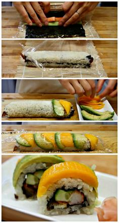 Step by step tutorial on how to make Mango Avocado Sushi Rolls. http://www.ifood.tv/recipe/how-to-make-sushi-avocado-mango-rolls