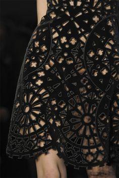 Laser Cut Cog Dress - decorative surface pattern; lasercut fashion details (arabesque!)