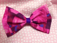Hot Pink and Purple Fragment Double Stacked Hair Bow