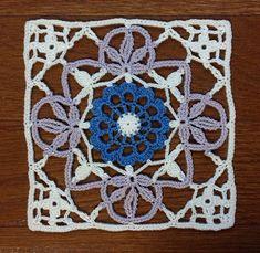 Felissimo Turkish Tile nº 12 Crochet Doily Rug, Crochet Doily Diagram, Crochet Square Patterns, Crochet Leaves, Knitted Flowers, Crochet Blocks, Doily Patterns, Crochet Chart, Crochet Squares