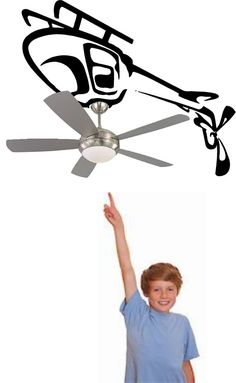 Kids Room Ceiling Fan Helicopter Vinyl Decal Sticker Logo Wall Art Auto in Home & Garden, Home Décor, Decals, Stickers & Vinyl Art | eBay