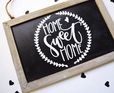 My chalkboard section was looking a little scarce....so, welcome this cute little Home Sweet Home embossed chalkboard to the shop! {SOLD} Because it's not chalk, the lettering will be permanent. Added a sweet little laurel wreath and heart just for safe measure! . . #home #homedecor #homesweethome #chalkboard #chalkart #embossed #embossing #sign #etsy #etsyseller #etsyshop #handlettering #handletter #handlettered #lettering #letter #lettered #handtype #type #typespire #calligraphy…