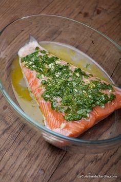 Saumon et coriandre - avant cuisson