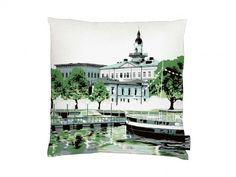 A picturesque waterfront scene cushion cover. Great to pair with other plain or textured accessories Turquoise Cushions, Jazz, Tapestry, Cover, Artwork, Interiors, Home Decor, Products, Hanging Tapestry