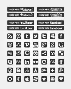 Freebies: Black & White Minimal Social Icons Pack
