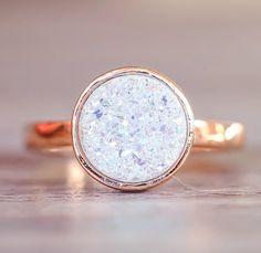 Rose Gold with Druzy Quartz Ring
