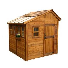 Outdoor Living Today, Sunshed 8 ft. x 8 ft. Western Red Cedar Garden Shed, SSGS88 at The Home Depot - Mobile