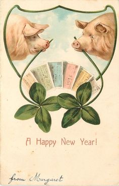 New Year Pigs with Shamrocks in Teeth Circle Bank Notes Art Novueau Erika 1907 | eBay