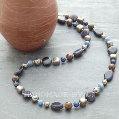 blue goldstone and pyrite necklace