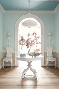 Williamsburg Color Collection  Upper Walls - Ewing Blue Ceiling - Chesapeake Blue Lower Walls - Market Square Sheil Trim - Hardwood putty