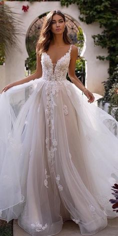 Moonlight Couture Wedding Dresses Fall 2019 Lace sleeveless ball gown wedding dress with sweetheart neckline tulle skirt and long train for the princess bride See more g. Yellow Wedding Dress, Top Wedding Dresses, Wedding Dress Trends, Bridal Dresses, Prom Dresses, Wedding Ideas, Woman Dresses, Couture Dresses, Beautiful Wedding Dress