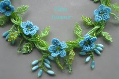 Beaded flower necklace forget-me-not exclusive by Elinawonderland