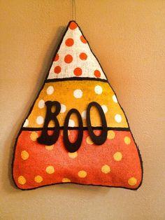 Fall burlap door hanger - BOO candy corn