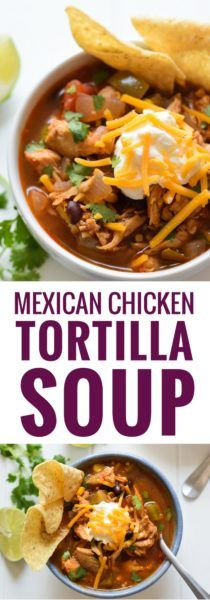 This Mexican Chicken Tortilla Soup has the perfect amount of spice alongside a healthy serving of vegetables, all in a warm, comforting broth. And it only takes an hour to make! (gluten free, low carb)