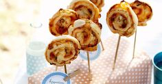 Roll up, roll up! Come and get our cheesy pizza wheels on sticks.