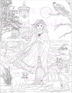 Adult Coloring Page Fantasy Art Pages Digital Download Lighthouse Gracellen By The Sea Kristi