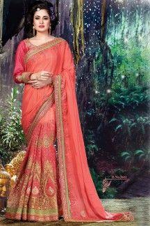 Yuvika Chaudhary Pink Color Designer Chiffon-Net-Satin Party Saree