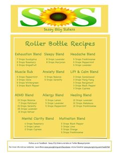Essential Oil Roller Bottle Recipes from Sassy y Oily Sisters // Everyday Alchemy YL