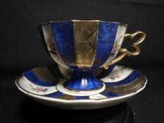 Shafford Japan Roses Pedestal Teacup & Saucer