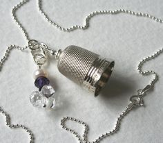Vintage Silver Thimble Charm Necklace Crystal and Pearl #CharmPendant #ThimbleNecklace