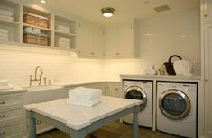 Laundry Room Farmhouse Sink - Design photos, ideas and inspiration. Amazing gallery of interior design and decorating ideas of Laundry Room Farmhouse Sink in laundry/mudrooms by elite interior designers. White Laundry Rooms, Modern Laundry Rooms, Small Laundry, White Rooms, Laundry Room Remodel, Basement Laundry, Laundry Table, Ikea Laundry, Laundry Area