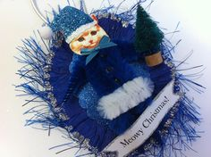 BLUE Santa Claus kitty cat vintage style CHENILLE ORNAMENT feather tree