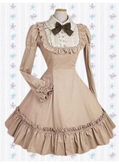 Elegant Light Brown Cotton Long Sleeves Bow Lace Classic Lolita Dress $133.49