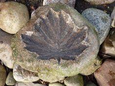 sierstenen blad, esdoorn, vogelbadje gemaakt van een zwerfkei