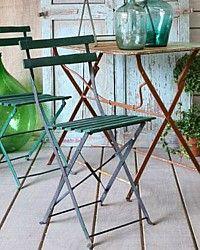 Pair Vintage French Countryside Folding Garden Bistro Chair-antique,cafe,france,furniture,brocante, fleamarket