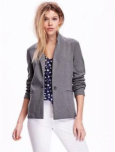 One-Button Knit Blazer in Grey, $39.94 #oldnavy (It's knit, sweatshirt like material. Super comfy, yet a little dressy.)