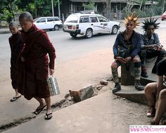 I love this image - Monks and Punks in Burma.