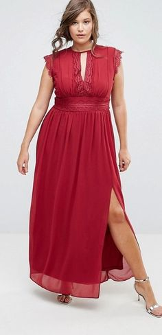Plus Size Lace Detail Maxi Dress