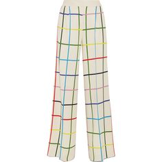 Mary KatrantzouDonis Checked Stretch-crepe Wide-leg Pants ($1,170) ❤ liked on Polyvore featuring pants, white, mary katrantzou, white trousers, checkerboard pants, checkered pants and wide-leg pants