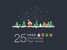 25 Christmas Flat Icons Finally It's christmas! And here's a gift from us whaledesigned, this packages include a image cover so that you can put the elements to make a greetings card or else. This christmas icons was crafted by Steve, check out his dribbble here. Grab it and enjoy your holiday!