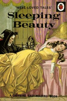 SLEEPING BEAUTY BY ERIC WINTER, LadyBird Books, Illustrator Vera Southgate, The Wicked Fairy is present here looking almost exactly the same as she was in an earlier illustration when she cursed the baby. Note spinning wheel in the background. Eric Winter, Ladybird Books, 1970s Childhood, My Childhood Memories, Briar Rose, Easy Reading Books, Vintage Children's Books, Children's Book Illustration, Beauty Illustration