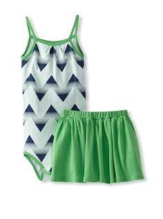 62% OFF Lake Park Kids Baby Romper and Skirt Set (Sky Chevron) #apparel #Kids