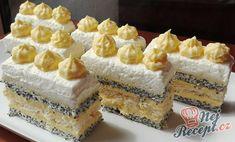 Recept Krémové makové řezy Romanian Desserts, Mac, Czech Recipes, Mini Cakes, Vanilla Cake, Cheesecake, Deserts, Dessert Recipes, Sweets