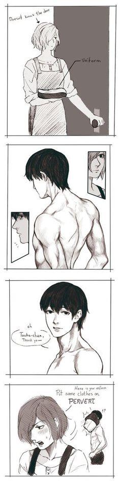 Touka seeing Kaneki in all his glorious hotness XD