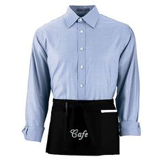 """Augusta Sportswear Cafe Pouch Pocket Waist Apron. 2700 Description   65% polyester/35% cotton twill, 1/2-inch wide extra-long waist ties, Triple-divided pouch pocket, reinforced at stress points, Pencil pocket on wearer's right, Single-needle hemmed sides. 20"""" x 10""""."""