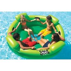 The Shock Rocker is a multi-person pool float by Swimline that can accomodate you and three friends side by side. But you don't just sit there! Work together to get this pool float rockin' and rollin'! See how big a wave you can get going in the pool! Inflatable Pool Toys, Inflatable Float, Inflatable Island, Pool Rafts, Pool Shock, My Pool, Pool Fun, Pool Water, Pool Accessories