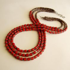 Jewelry Necklace Red White Heart Beads Three Strands Heishi Shell Sterling. $125.00, via Etsy.