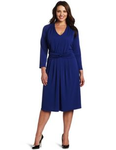 Jones New York Women's 3/4 Sleeve Dress, Dark Cerul