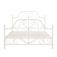 White Iron Beds, White Metal Bed, Rose Gold Bed, Rose Gold Rooms, Bed For Girls Room, Wood Shelving Units, Cast Iron Beds, Wrought Iron Beds, Metal Platform Bed