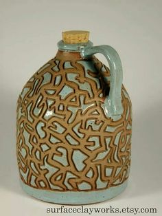 """This jug makes me say, """"whoooooah"""".  Beautifully, handcrafted by Joshua Pickens  Need to buy a gift for someone or yourself even?? Check Josh out at:  surfaceclayworks.etsy.com  By: Joshua Pickens"""