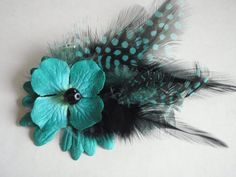 flower & feather clip